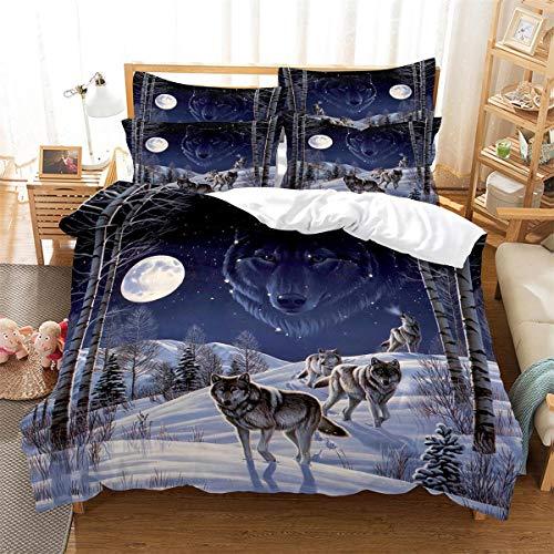 MANXI Bettwäsche-Set mit 3D-Tier-, Wölf- und Mond-Aufdruck, Kissenbezüge, Bettbezug, 2-teilig, 140 x 200 cm