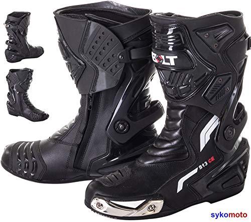 ViPER Rider Bolt S13 Racing Boots Touring Leather MOTORRADSTIEFEL Leder TOURENSTIEFEL Herren UND Damen Wasserdichte KLIMAMEMBRANE SCHWARZ (EU 46)