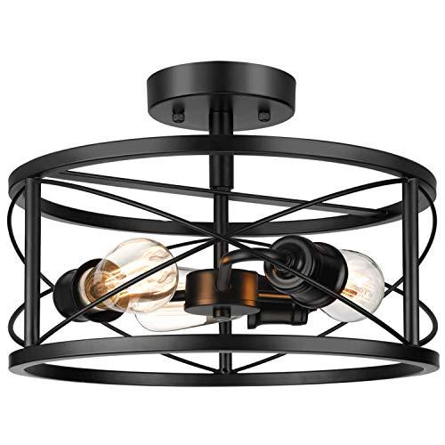 Industrial 3-Light Semi Flush Mount Ceiling Light, Modern Farmhouse Lighting Fixture with Metal Cage, Black Vintage Retro Pendant Lamp for Hallway Kitchen Bedroom Living Room Bathroom Entryway
