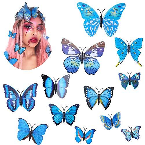 WELROG Schmetterling Haarklammer Bögen Streifen für Frauen Mädchen Braut Haarschmuck Set 12Pcs Hochzeit Party Ornament (Blau)