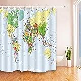 Dangfeipeng - Cortina de ducha moderna impermeable con diseño de mapamundi para baño, cortina de ducha interior, 12 ganchos, 72 pulgadas de largo