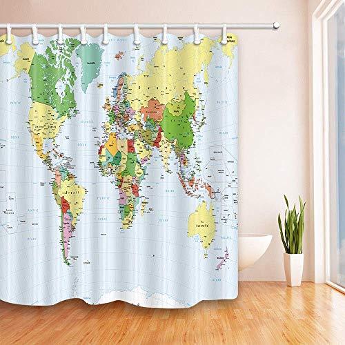 dangfeipeng Cortina de ducha moderna con diseño de mapa del mundo, impermeable, para baño, 12 ganchos, 183 cm de largo