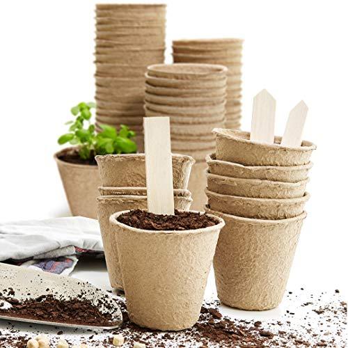 U+ME 3' Seed Starter Pots for Planting | 60 Pack Seedling Pots | 10 Plant Labels | Biodegradable Seed Starter Peat Pots Pods | Vegetable Seeds Garden Starter Kit