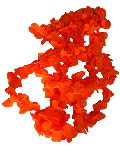 R&F srls 24 collares hawaianos naranja doble pétalo collar hawaiano flores artificiales hawaianas