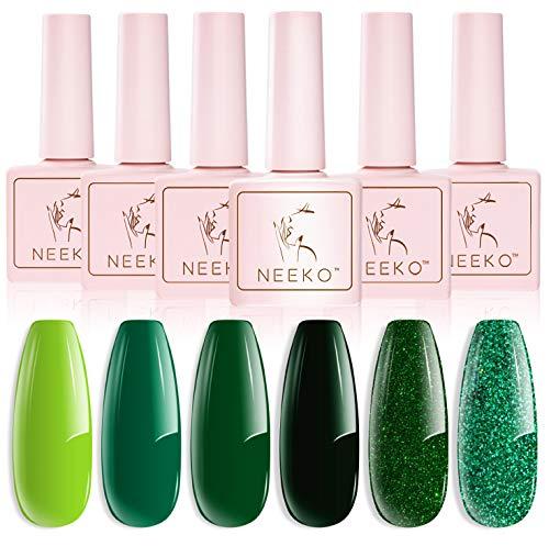 Esmaltes Semipermanentes, NEEKO 6 Colores Pintauñas Semipermanente, Remoje el Esmalte de uñas en Gel UV LED para Salón de uñas, Verde Clásico