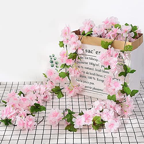 Ousuga fiore di ciliegio artificiale, 4 pezzi di fiori di ciliegio in seta appesi ghirlanda di fiori rosa per decorazioni da parete da giardino