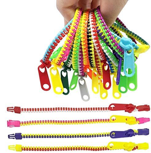 TADAE 48 Stück Zappeln Reißverschluss-Armbänder Kinder Spielzeug zum Party