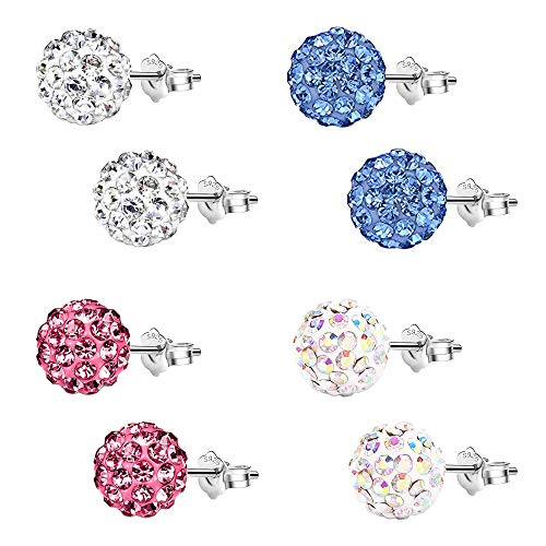 Epoch World Damen Ohrringe Silber 925 4 Paare Ohrstecker mit Kristall Strass Kugel 8mm Stecker Ohrringe Set in 4 Farben Ohrringe für Damen Mädchen