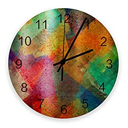 FAMILYDECOR 12 Inch Indoor/Outdoor Waterproof Wall Clock, Vintage Silent Non-Ticking Battery Operated Clock Home Classroom Conference Room Wall Decorative- Colorful Paint Textured Abstract Art