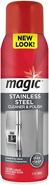 Magic Stainless Steel Cleaner Aerosol 17 Ounce Removes Fingerprints Residue Water Marks And Grease From Appliances Refrigerator Dishwasher Oven Grill Etc