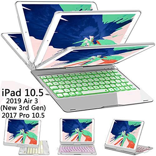 ILEBYGO iPad Pro 10.5 Keyboard Case with Pencil Holder for iPad Pro 10.5 inch 2017/iPad Air 10.5(3rd Gen) 2019, 360 Rotatable Wireless Bluetooth Backlit/Auto Sleep-Wake/Ultra-Thin Keyboard(Sliver)