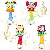 ThinkMax Baby Rattles, 4 Stück Soft Hand Rassel Shaker Spielzeug für Kleinkinder mit Sound, Developmental Stuffed Toys für Kleinkinder