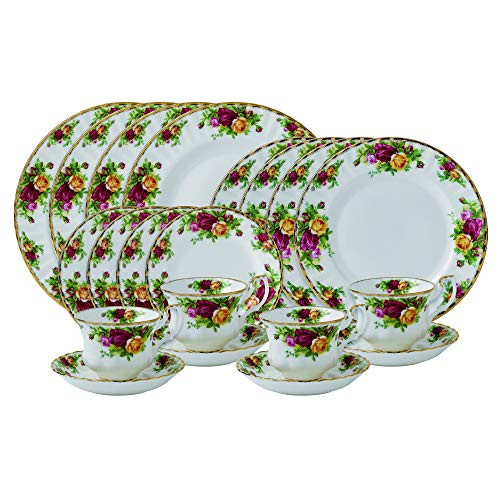 Royal Albert Old Country Roses 20-Piece Dinnerware, Set with Bread Plates, Mostly White with Multicolored Floral Print