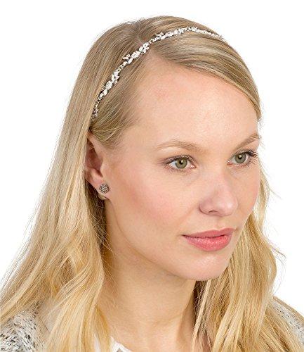 SIX Haarschmuck: Elegante Silberkette für Haare, verziert mit Blüten und Glitzersteinen, ideal auch als Brautschmuck, weißes Gummiband (252-862)