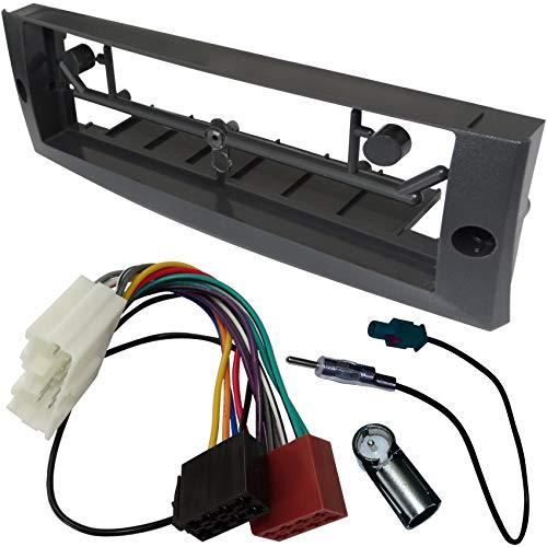AERZETIX - Kit de montaje de radio de coche estándar 1DIN - Marco, cable enchufe y adaptadores de antena - Negro - C1494A