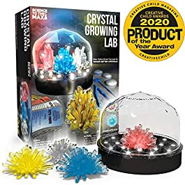 Be Amazing! Toys DIY Crystal Growing Experiment Kit for Kids W/Light Up Display Dome – Make Your Own Crystals – Science Toys for Boys & Girls – Grow 4 Large Crystals – Advanced Crystal Making Formula