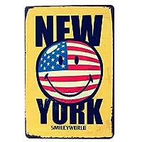 ニューヨークの笑顔 メタルポスター壁画ショップ看板ショップ看板表示板金属板ブリキ看板情報防水装飾レストラン日本食料品店カフェ旅行用品誕生日新年クリスマスパーティーギフト