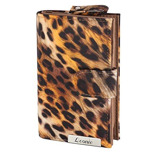 Cadenis Damen-Geldbörse Leoparden-Muster mit persönlicher Laser-Gravur Geldbeutel orange Hochformat 15x9,5cm