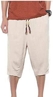 neveraway Mens Harem Pants Solid-Colored Premium 3/4 Pants Palazzo Trousers