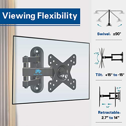 Mounting Dream Full Motion Monitor Wall Mount TV Bracket for 10-26 Inch LED, LCD Flat Screen TV and Monitor, TV Mount with Swivel Articulating Arm, Monitor Mount Up to VESA 100x100mm and 33LBS MD2463 Photo #5