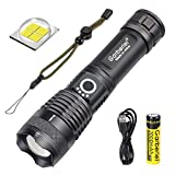 XHP50 LED Flashlight and Battery 3000 Lumens Super Brighter IPX4 Waterproof Torch Light