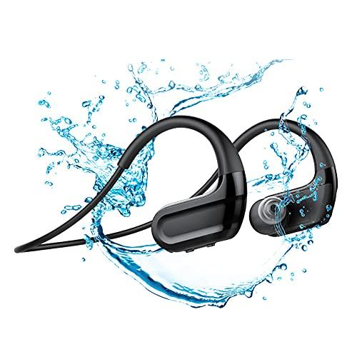 RSGK Auriculares para Nadar con Reproductor MP3, transmisión por conducción ósea, Chip Bluetooth 5.0, IPX8, Deportes a Prueba de Agua, Correr, Fitness, 32G, Memoria, Auriculares Bluetooth