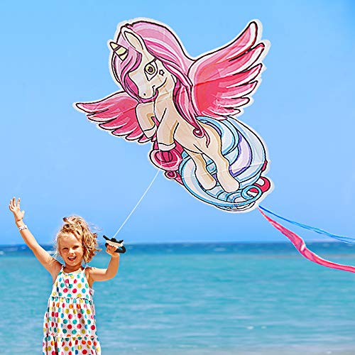 Unicorn Kite for Kids and Adults for Outdoor Games and Beach Trip,Cute Unicorn Best Kite for Girls,Boys and Beginner,Easy to Fly for Summer Activities,Great Flyer w/Bag (Unicorn Kite with wings)
