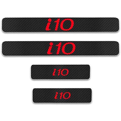 HAOXUAN 4 Piezas 4D de Fibra de Carbono para Puerta de Coche, Pegatina Protectora para umbral de Coche, Placa de Desgaste, Pegatina de Vinilo para Hyu-ndai i10,Rojo