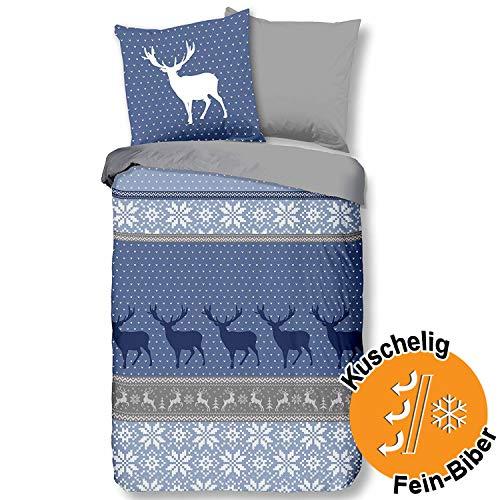 Aminata Kids Premium Biber-Wende-Bettwäsche-Set Weihnachten Elch-Motiv 135x200 cm + 80x80 cm, Baumwolle, Reißverschluss, mit Hirsch-Motiv, weich, blau, grau, weiß im Landhaus-Stil, Winter-Motiv, Hüten