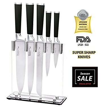 Kitchen Knife Set Block Knives - Stone boomer 6 Piece Black Handle Stainless Steel - 8  Chef, 8  Bread, 8  Carving, 5  Utility, 3.5  Paring, Stand, Razor Sharp!!!