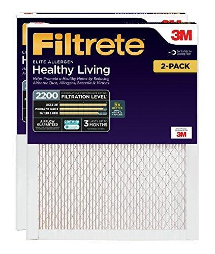Filtrete 14x24x1, AC Furnace Air Filter, MPR 2200, Healthy Living Elite Allergen, 2-Pack