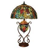XYAN Manual de moda de los artes tradicionales Cama 17 pulgadas americana Tabla Sitio clásico hecho a mano Vida de la lámpara del vitral de Tiffany Lámpara de mesa Lámpara de cabecera de la lámpara de