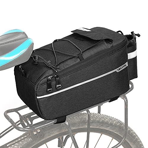 SINCHER Fahrradtasche Fahrrad Gepäckträgertasche, Isoliertasche, Fahrrad Sitz Multifunktionale Stammkühltasche,Umhängetasche, 38 * 16 * 15,5cm, Schwarz