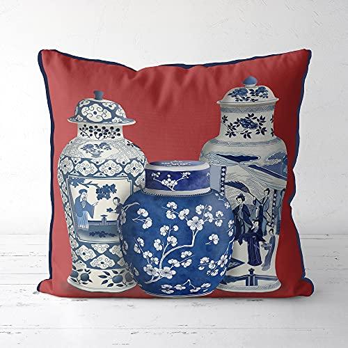 Chinoiserie Federa per cuscino rosso Euro Sham asiatico federa per cuscino orientale cinese divano cuscino cuscino zenzero vaso trio rustico cuscino rustico decorazione casa per divano