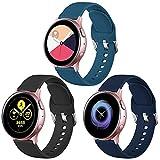 Vobafe Cinturino 3 Pezzi Compatibile con Samsung Galaxy Watch Active 40mm/Active 2 44mm Cinturino, Cinturini di Ricambio in Silicone per Galaxy Watch 3 41mm/ Gear Sport, L Nero/Blu Ardesia/Mare Blu