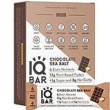 IQBAR Brain and Body Keto Protein Bars - Chocolate Sea Salt Keto Bars - 12-Count Energy Bars - Low Carb Protein Bars - High Fiber Vegan Bars and Low Sugar Meal Replacement Bars - Vegan Snacks