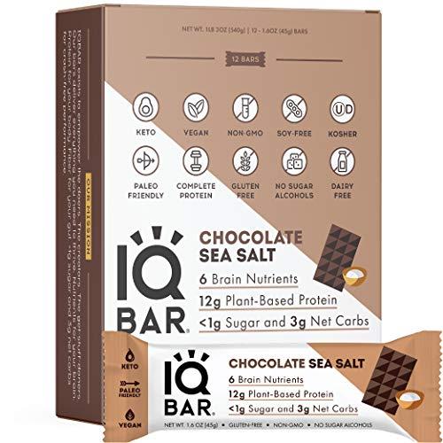 IQ BAR, Vegan Gluten Free Keto Bars - Low Carb Protein Bars, Healthy Keto Snack in Chocolate Sea Salt Flavour - Tasty Paleo Snack, Pack of 12 (1.6 oz Bar)