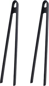 Kitchen Silicone Tongs for Cooking, 2PC Non-Stick Trivet Serving Tongs, Rubber Silicone Tongs for Cooking Serving Food Toaster Tortilla BBQ Grilling(Black)
