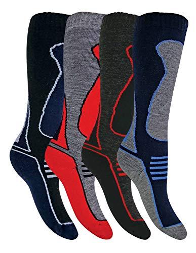 Sock Snob 4 Pares Niño y Niña Altos Lana Invierno Calcetines Esqui (31/36, SL500 Boys)