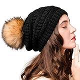 FURTALK Womens Winter Knit Slouchy Beanie Hat Warm Skull Black Ski Cap Faux Fur Pom Pom Hats for Women