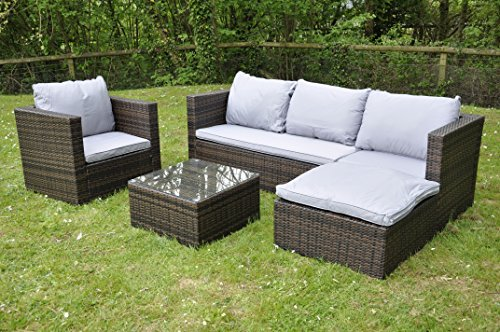 Bigzzia Rattan Modular Corner Sofa Set Bahamas 5PC Garden Corner Sofa includes Cushions