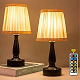ZEEFO LED Night Light, Battery-Powered Portable Night Lamp, Eye Protection Warm White Remote Control Night Light, Dimmable Classic Bedside Table Lamps Ideal for Bedroom,Study, Kids Room (Set of 2)