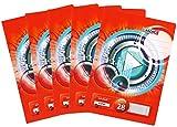 Landre Schulheft, 5er Pack, DIN A4, kariert, Lineatur 28, 32 Blatt, rot