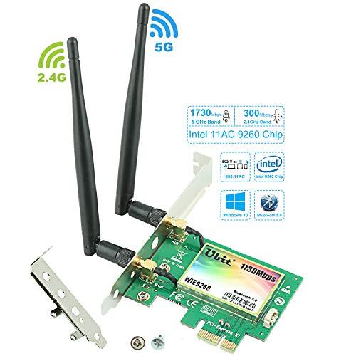 Gigabit-WLAN-Karte, Wireless-AC 9260 Dual-Band 2030 Mbit/s (5G / 2,4G), PCIe-WLAN-Karte, Bluetooth 5.0-WLAN-Karte, PCI-E-WLAN-Adapter für PC