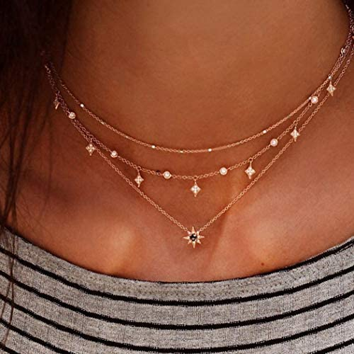 Gortin Layered Necklace Gold Boho Pendant Necklaces Beads Chain Short Necklace Jewelry for Women product image