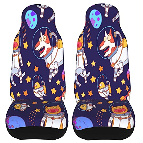 IBILIU Car Seat Covers Set Of 2 Astronomy Animals,Planet Stars Cute Dogs...