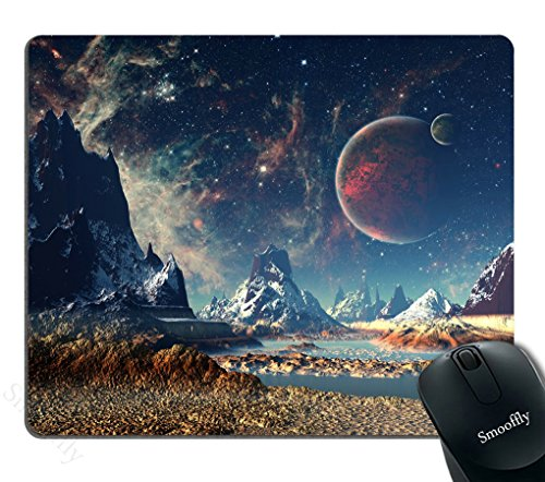 Smooffly Gaming Mouse Pad Custom,Planet with Earth Moon and Mountains Mouse pad 9.5 X 7.9 Inch (240mmX200mmX3mm)