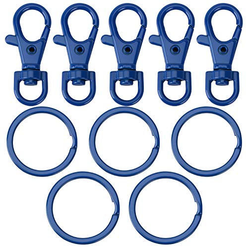 5 Set Key Chain Flat Key Rings Baking Varnish Metal Swivel Clasps Snap-On Keychain Ring Hook Spring Clip Snap Hook Lobster Clasp for Keys, Lanyards Jewelry Findings Crafting, Blue