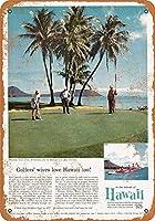 白い桜雑貨屋レトロ ブリキ 看板 コカ 通販 Waialae Golf Club Honolulu Hawaii 壁飾 アンティーク メタル レトロ 看板 販売(20x30cm)