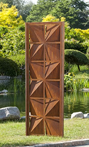 Gartenwand Sichtschutz Quadrat rost Stahl 75x195 cm